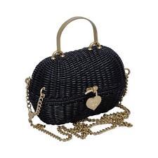 Chanel Black Straw Heart Closure Handbag Mint Vintage
