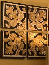 4 Panel Fleur De Lis Wall Art Black & Gold Creme