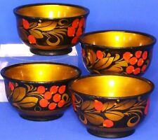Russia Russian treen wooden black lacquer gilt tea bowls, W:7cm     *[20794]
