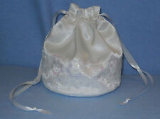 White Satin & Iridescent Lace Dolly Bag / Handbag Bride Communion Christening