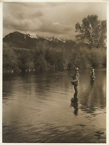 John Kabel Photograph 1920-1930's Pacific NW Fly Fisherman Mountains Stream