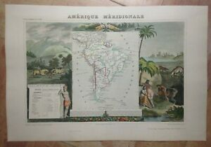 SOUTH AMERICA 1845 by Victor LEVASSEUR LARGE DECORATIVE ANTIQUE MAP 19TH CENTURY