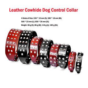 Leather Cowhide Dog Control Collar Spikes Studded for Dog Rottweiler Labrador BM
