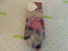 Mens Neck Tie Abstract Geometric Purple Grey White Red City Streets