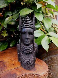 Antique African  Benin Warrior Kings Head Ebony Hand Carved
