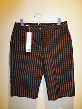 BNWT WOMEN'S CUTTER & BUCK GOLF CASUAL SHORTS SZ US4 / AU8-10 BLACK WITH CHECKS