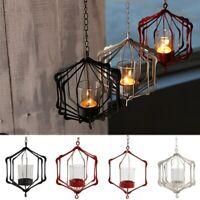 New Hanging Glass Iron Art Lantern Tea Light Candle Holder Garden Home   /