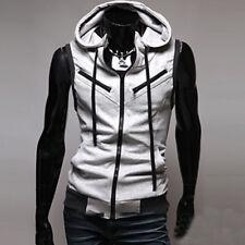 Sport Men Hoodie Sleeveless Zipper Jacket Vest Waistcoat Hooded Sweatshirt Coat