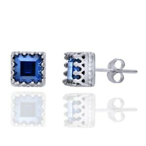 2.48 ct Blue Sapphire Sterling Silver Crown Solitaire Stud Earrings