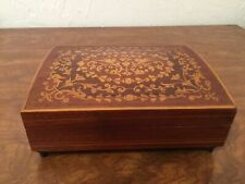 "Vintage Wood Inlay Music Box 6.5"" Simple Yet Ornate Plays Beautifully (42)"