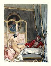 Auguste LEROUX .Casanova. la discussion après l'amour ! Nu ! érotique ! SUPERBE