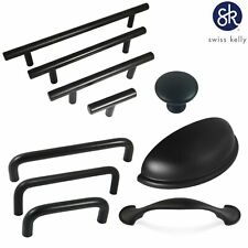 Swiss Kelly Hardware Matte Black Kitchen Cabinet Handles Drawer Pulls