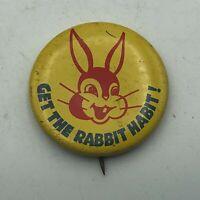 "Vintage Get The Rabbit Habit! Moon Rabbit Goddess 1-1/4"" Button Pin Pinback   S3"