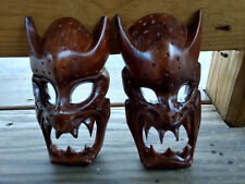 Collectible Evil Growling Carved Wood Masks Sharp Pointed Teeth