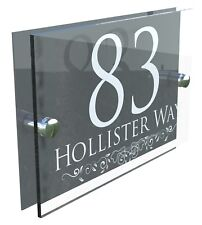 Contemporary House Signs Plaques Door Numbers 1 - 999 Personalised Name Address