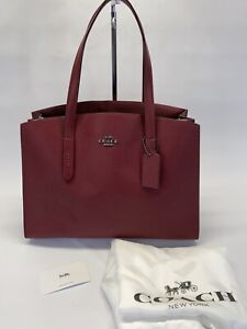 NEW COACH 38616 Pebble Leather Charlie Carryall Tote Bag Deep Red w/ Metallic