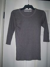 MICHAEL STARS Stretch Brown Silver Iridescent V-neck Knit Top Shirt One Size