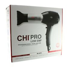 CHI PRO LOW EMF PROFESSIONAL HAIR DRYER BLACK W/NOZZLE & DIFFUSER - NEW