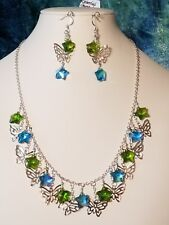 Sparkly Silver Butterflies & Glass Star Beaded Collar Necklace Set. A~K~N Design