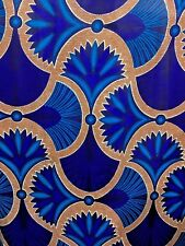 BLUE BROWN MULTICOLOR African Wax Print 100% Cotton Fabric (44 in.) Sold BTY