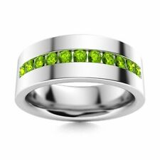 6 mm Mens Natural AAA Peridot Half Wedding Band in 14k White Gold Solid Ring