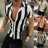 Mens Fashion Printed Splicing Colorful Stripe Short Sleeve Loose Shirt Blouse