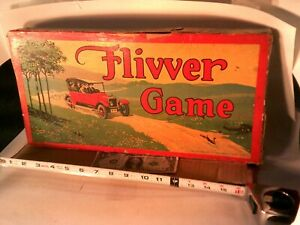 Vintage Flivver Game by Milton Bradley ca. 1925 w. box and game pieces