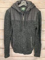 ROOTS CANADA SWEATER KNIT ZIPPER COAT JACKET L WITH NYLON HOOD