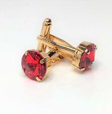 Royal Red Crystal Gold Cufflinks Formal Wedding Cuff Links Groom Gift Boxed