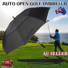 Large Double-canopy Windproof Waterproof Automatic Open Golf Umbrella Black eX