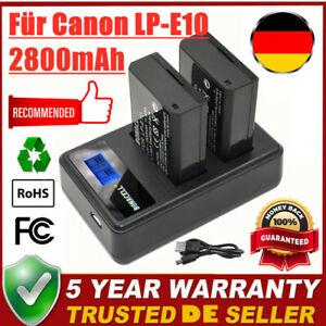 2X 2800mAh LP-E10 Akku + LCD Dual Ladegerät für Canon Rebel T3 EOS 1100D 1200D