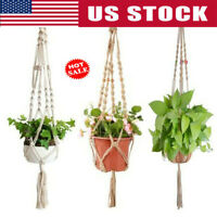Modern Pot Garden Holder Plant Hanger Flower Legs Hanging Macrame Rope Basket US
