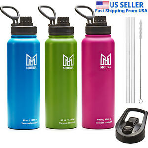 Water Bottle 40 oz Stainless Steel Insulated Double Wall comes with 2 lids, USA