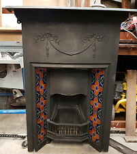 Original Antique Reclaimed Large Cast Iron Fireplace Tiled Fire Place Grate
