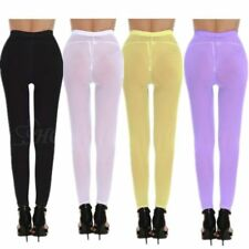 Women Lingerie See-through Sheer Mesh Leggings Long Pants Stretch Tight Trousers