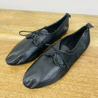 Sempre Di Womens Lace Up Leather Flats Black Size 40
