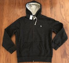 NWT POLO RALPH LAUREN Men's Black Heather Full-Zip Drawstring Hoodie Pony Sz Lg