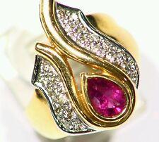 14K Gold Natural Tourmaline White Cut DIAMOND Vintage Wedding Engagement Ring