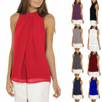 Womens Chiffon Sleeveless Business Blouse Tops Office Casual Loose Shirt Plus