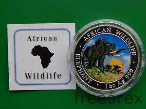 Somalia 2009 100 shilling Elephant Colorized 1 Oz Silber