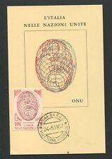 Italia MK 1957 kapanmmamm ONU Nazioni Unite maximum carta carte MAXIMUM CARD MC cm d8941