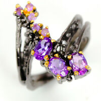 Fashion Women Ring Natural Amethyst Gemstone 925 Sterling Silver Ring / RVS298