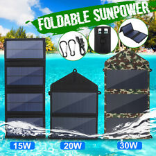 15/30W 5V Dual USB Foldable Sunpower Solar Panel Camping Hiking Phone Charger