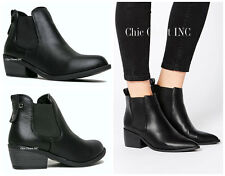 Women Ankle Heels Inset Slip On Fashion Fux Leather Black Boots Western Booties