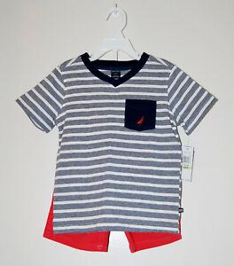 NWT Nautica Toddler Boys Coral Red 2pc Striped T-Shirt & Short Set sz 4T