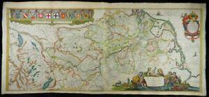 RHEIN RHEINLAUF RHENUS GROßE KOL. KUPFERSTICH KARTE BLAEU 1640 RHINE MAP