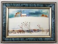 """Original Watercolor Painting  4"""" x 6"""" Snowy Landscape Church Framed Signed Walsh"""