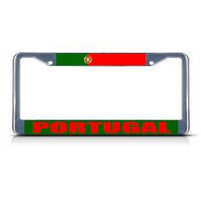 PORTUGAL FLAG Metal License Plate Frame Tag Border Two Holes