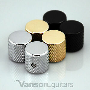 2 x NEW Vanson Flat Top Screw Knobs for 'TL' guitar, Chrome, Black or Gold VS004