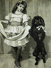 C.T. Garland NURSERY PANTOMIME Black Poodle & Girl Dancing 1894 Print Matted